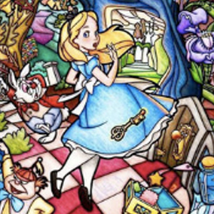 ALICE IN WONDERLAND CHARACTERS STAINED GLASS Diamond Painting Kit Paint with Diamonds Kit