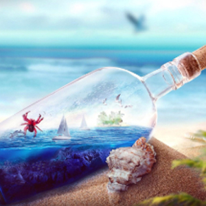 BEACH IN A BOTTLE Diamond Painting Kit Paint with Diamonds Kit