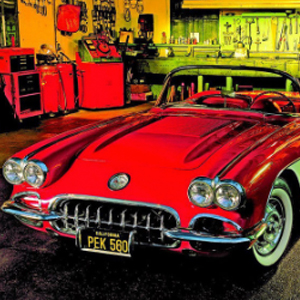 CORVETTE IN GARAGE Diamond Painting Kit Paint with Diamonds Kit