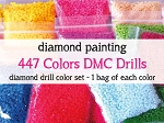 COMPLETE COLOR SET DIAMOND DRILLS 447 Colors DMC Diamond Painting Drills Square Drill Or Round Drill Diamond Dotz