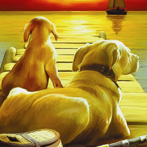 DOGS GONE FISHING Diamond Painting Kit Paint with Diamonds Kit