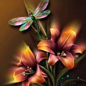 DRAGONFLY & LILIES Diamond Painting Kit Paint with Diamonds Kit