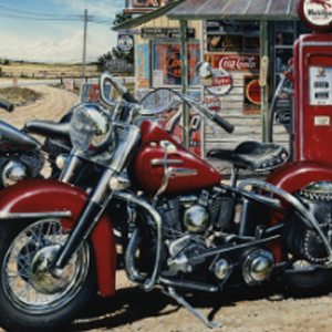 MOTORCYCLES AT A GAS STATION Diamond Painting Kit Paint with Diamonds Kit