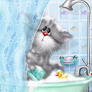 KITTY IN SHOWER Diamond Painting Kit Paint with Diamonds Kit