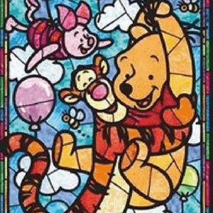 TALL WINNIE THE POOH STAINED GLASS Diamond Painting Kit Paint with Diamonds Kit