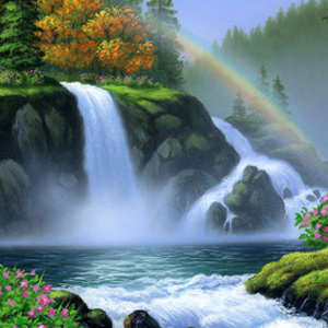 RAINBOW WATERFALL Diamond Painting Kit Paint with Diamonds Kit