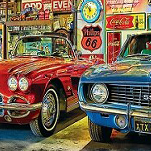 HOT ROD SERVICE STATION GARAGE Diamond Painting Kit Paint with Diamonds Kit