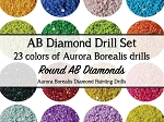 COMPLETE COLOR SET AURORA BOREALIS DIAMOND DRILLS 23 Colors DMC Diamond Painting Drills Round Drill Diamond Dotz