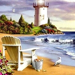 BEACH LIGHTHOUSE Diamond Painting Kit Paint with Diamonds Kit