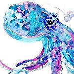 BLUE OCTOPUS WATERCOLOR Diamond Painting Kit Paint with Diamonds Kit