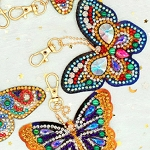 6 CRYSTAL BUTTERFLY KEYCHAINS Diamond Painting Keychain Kit