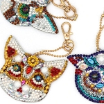 4 CRYSTAL CAT KEYCHAINS Diamond Painting Keychain Kit