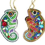 4 CRYSTAL CHAMELEON KEYCHAINS Diamond Painting Keychain Kit