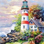 COTTAGE LIGHTHOUSE Diamond Painting Kit Paint With Diamonds Kit