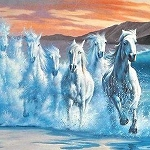 CRASHING WAVES OF HORSES Diamond Painting Kit Paint with Diamonds Kit