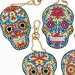 5 CRYSTAL DAY OF THE DEAD SKULL KEYCHAINS Diamond Painting Keychain Kit