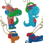 4 CRYSTAL DINOSAUR KEYCHAINS Diamond Painting Keychain Kit