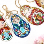 5 CRYSTAL RUSSIAN DOLLS KEYCHAINS Diamond Painting Keychain Kit