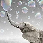 ELEPHANT BLOWING BUBBLES Diamond Painting Kit Paint with Diamonds Kit