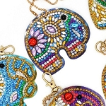 5 CRYSTAL ELEPHANT KEYCHAINS Diamond Painting Keychain Kit