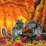 AUTUMN CHIPMUNKS Diamond Painting Kit Paint with Diamonds Kit