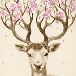 FLORAL DEER ANTLERS Diamond Painting Kit Paint with Diamonds Kit