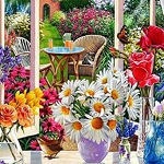 FLOWERS ON A WINDOW SILL Diamond Painting Kit Paint with Diamonds Kit