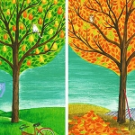 FOUR SEASONS TREES Diamond Painting Kit Paint with Diamonds Kit