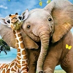 GIRAFFE & ELEPHANT Diamond Painting Kit Paint with Diamonds Kit