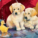 LAB PUPPIES IN THE RAIN Diamond Painting Kit Paint with Diamonds Kit
