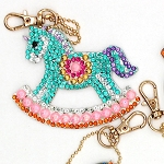 4 CRYSTAL ROCKING HORSE & CANDY KEYCHAINS Diamond Painting Keychain Kit