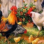 ROOSTERS IN THE GARDEN Diamond Painting Kit Paint with Diamonds Kit