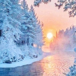 SNOWY RIVER SUNRISE Diamond Painting Kit Paint with Diamonds Kit