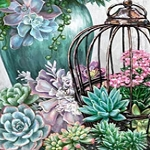 SUCCULENT GARDEN BIRD CAGE Diamond Painting Kit Paint with Diamonds Kit