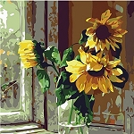 SUNFLOWER WINDOW SILL Diamond Painting Kit Paint with Diamonds Kit