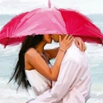BEACH UMBRELLA KISS Diamond Painting Kit Paint with Diamonds Kit