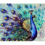 BLUE PEACOCK Diamond Painting Kit Paint with Diamonds Kit