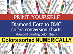PRINT YOURSELF Diamond Dotz to DMC Colors Conversion Charts Diamond Painting Drill Color Charts