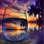 PALM TREE SUNSET REFLECTIONS IN GLASS Diamond Painting Kit Paint with Diamonds Kit