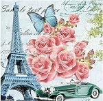 PINK ROSES POSTCARDS FROM PARIS Diamond Painting Kit Paint with Diamonds Kit