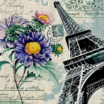 PURPLE FLOWER POSTCARDS FROM PARIS Diamond Painting Kit Paint with Diamonds Kit