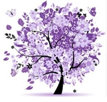 PURPLE LEAVES FOUR SEASONS TREE Diamond Painting Kit Paint with Diamonds Kit