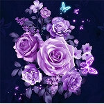 PURPLE ROSES Diamond Painting Kit Paint with Diamonds Kit