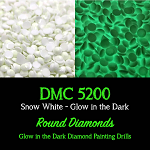 ROUND GLOW IN THE DARK Replacement Diamond Drills for Diamond Painting Kits Round Drill