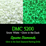 SQUARE GLOW IN THE DARK Replacement Diamond Drills for Diamond Painting Kits Round Drill
