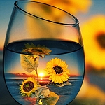 SUNFLOWER REFLECTIONS IN GLASS Diamond Painting Kit Paint with Diamonds Kit
