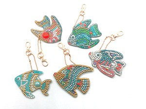 5 CRYSTAL ANGEL FISH KEYCHAINS Diamond Painting Keychain Kit