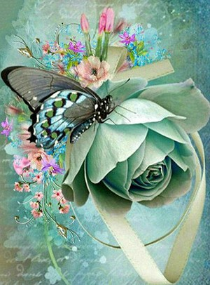 BUTTERFLY & ROSE Diamond Painting Kit Paint With Diamonds Kit