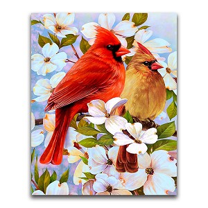 CARDINALS & BLOSSOMS Diamond Painting Kit Paint with Diamonds Kit