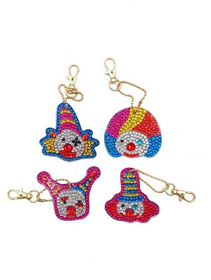 4 CRYSTAL CLOWN KEYCHAINS Diamond Painting Keychain Kit